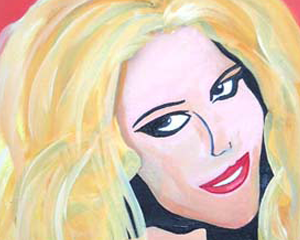 A portrait of the blond woman done in the style of Andy Warhol. Original Artwork by Raquelia